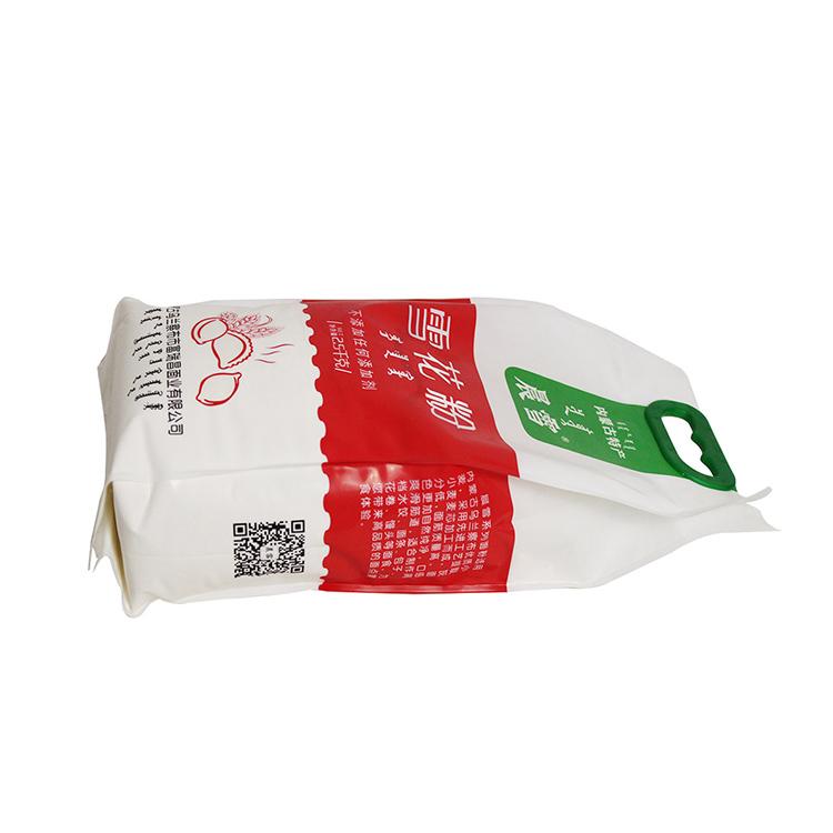 厂家直销 高端 2.5kg 哑光 尼龙复合四边封提手扣塑料面粉包装袋